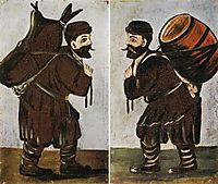 Musha with a Wineskin, Musha with a Barrel, 1912, pirosmani