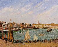 Afternoon, Sun, the Inner Harbor, Dieppe, 1902, pissarro