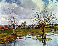 Landscape with Flooded Fields, 1873, pissarro