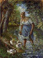 Peasant Crossing a Stream, c.1894, pissarro