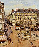 Rue Saint Honore Morning Sun Effect, Place du Theatre Francais, 1898, pissarro
