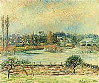 View of Bazincourt, Flood, Morning Effect, 1892, pissarro