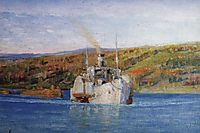 Oka river. Vladimir steamer converted into a tow., 1926, polenov
