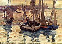 Small Fishing Boats, Treport, France, 1894, prendergast