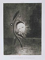 Flower of the swamp, a head human and sad, 1885, redon