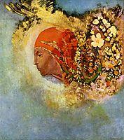 Head with Flowers, c.1907, redon