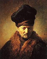 Bust of an Old Man in a Fur Cap, 1630, rembrandt