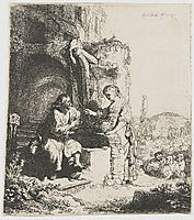 Christ and the woman of Samaria among ruins, 1634, rembrandt