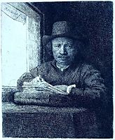Rembrandt drawing at a window, 1648, rembrandt