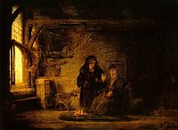 Tobit and Anna with a Goat, rembrandt