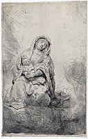 Virgin and child in the clouds, rembrandt