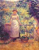 Aline at the gate (girl in the garden), 1884, renoir