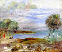 Two Figures by the Water, renoir