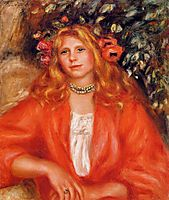 Young Woman Wearing a Garland of Flowers, c.1908, renoir