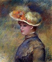 Young Woman Wearing a Hat, renoir
