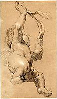 Sketch of Putto Holding a Sash in Both Hands, Seen from Below, reynolds