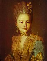 Portrait of an Unknown Woman in a Blue Dress with Yellow Trimmings, c.1760, rokotov