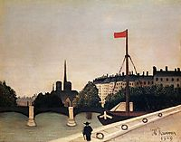 Notre Dame View of the Ile Saint Louis from the Quai Henri IV, 1909, rousseau