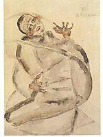 Self-portrait as prisoner, 1912, schiele