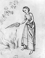 Young Woman Fanning a fire with a bird-s wing, schongauer