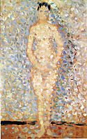 Poseur standing, front view, study for , 1887, seurat