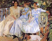 My Wife and Daughters in the Garden, 1910, sorolla