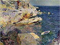 Rocks and white boat, Javea, sorolla