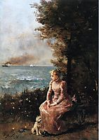 A Young Girl Seated by a Tree, stevens