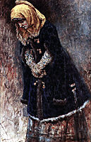 Young lady with blue fur coat, 1887, surikov