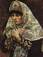 Young lady with his arms folded (Study to , surikov