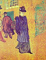 Jane Avril leaving the Moulin Rouge, 1893, toulouselautrec