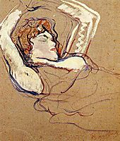 Woman Lying on Her Back, Both Arms Raised, 1895, toulouselautrec