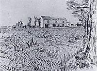 Farmhouse in a Wheat Field , 1888, vangogh