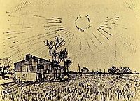 Field with Houses under a Sky with Sun Disk, 1888, vangogh