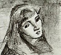 Head of a Woman with Her Hair Loose, 1886, vangogh