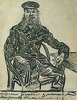 Joseph Roulin, Sitting in a Cane Chair, Three-Quarter-Length, 1888, vangogh