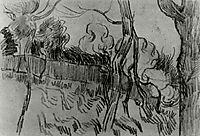 Pine Trees Seen against the Wall of the Asylum, 1889, vangogh