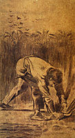 Reaper with Sickle (after Millet) , 1881, vangogh