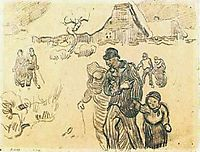 Snow-Covered Cottages, a Couple with a Child, and Other Walkers, 1890, vangogh