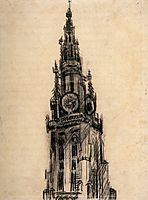 The Spire of the Church of Our Lady, 1885, vangogh