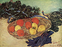 Still Life with Oranges and Lemons with Blue Gloves , 1889, vangogh