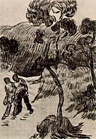 Two Men Walking in a Landscape with Trees, 1890, vangogh