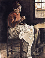 Woman Sewing , 1881, vangogh