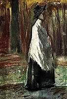 Woman with White Shawl in a Wood, 1882, vangogh
