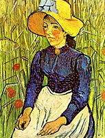 Young Peasant Girl in a Straw Hat sitting in front of a wheatfield, 1890, vangogh