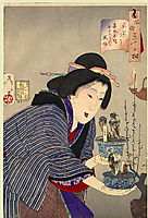 Looking as if she wants to change - The appearance of a proprietress of the Kaei era, 1888, yoshitoshi