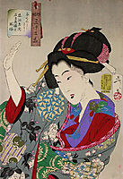 Looking Disagreeable - The Appearance of a Young Lady from Nagoya During the Ansei era, yoshitoshi