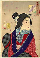 Looking eager to meet someone - The appearance of a courtesan of the Kaei period, 1888, yoshitoshi