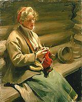 Girl knitting, 1901, zorn